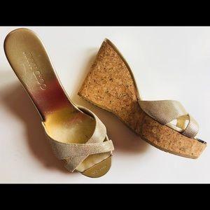 jimmy choo gold cork wedge sandals• size 39